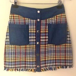 Zara plaid and denim school girl style mini skirt